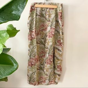 Gap- Linen Floral Skirt with Slit EUC